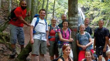 Group picture at the Josefstaler Waterfalls