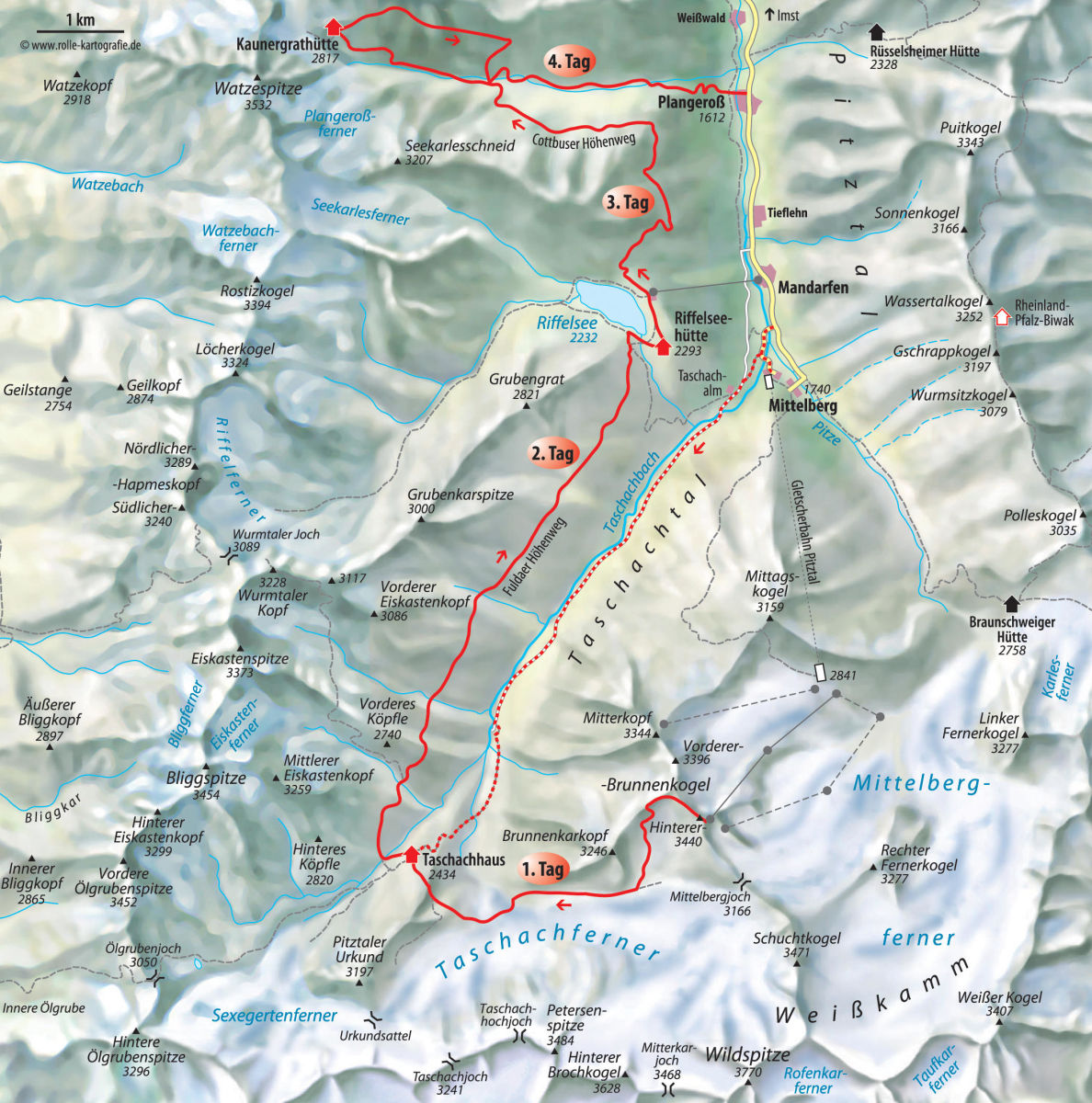 Pitztal Karte.Pitztaltour Hütten Trekking Alpenverein München Oberland