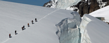 a roped party on a glacier